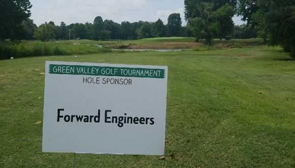 Forward Engineers sponsor sign at Green Valley Bible Camp golf tournament